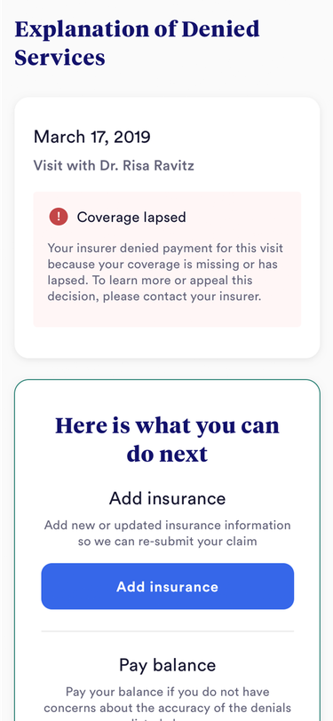 Mobile phone screen with explanation of denied services and insurance capture